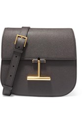 Tom Ford Tara Mini Textured Leather Shoulder Bag Dark Gray