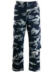 Valentino Camouflage Denim Cargo Trousers Blue