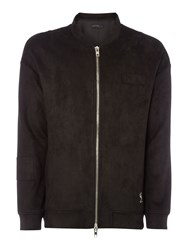 Religion Men's Zip Up Faux Suede Bomber Jacket Black