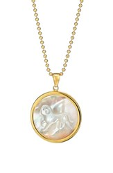 Asha Women's Zodiac Mother Of Pearl Pendant Necklace Aries