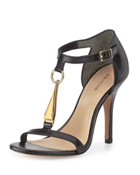 Pour La Victoire Yolanda Golden T Strap Dress Sandal Black
