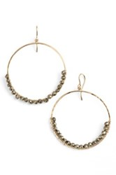 Sonya Renee 'Leyla' Semiprecious Stone Hoop Earrings Gray