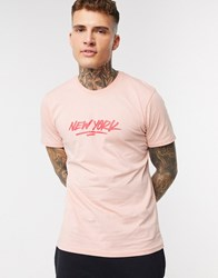 New Era Contemporary Logo T Shirt In Pink Black