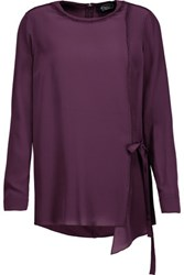 Magaschoni Fringed Washed Silk Blouse Plum