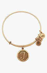 Women's Alex And Ani 'Initial' Adjustable Wire Bangle T Russian Gold