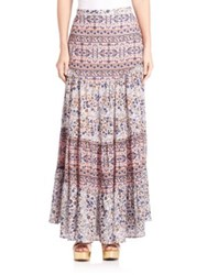 See By Chlo Long Boho Floral Cotton Skirt Light Rose Grey