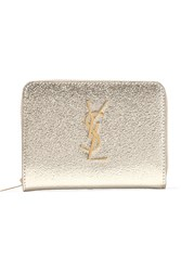 Saint Laurent Metallic Textured Leather Wallet Silver
