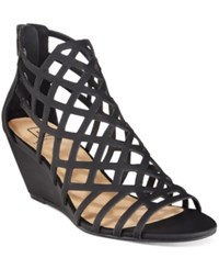 Material Girl Henie Caged Demi Wedge Sandals Only At Macy's Women's Shoes Black