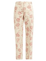 Aries Rose Print Wide Leg Cotton Trousers Ivory Multi