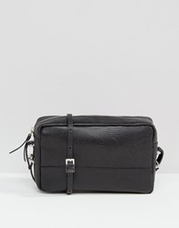Warehouse Leather Textured Shoulder Bag Black