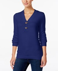 Charter Club Henley Sweater Only At Macy's Blue Regalia