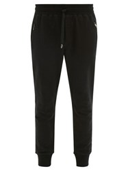 Dolce And Gabbana Logo Plaque Cuffed Ankle Cotton Sweatpants Black