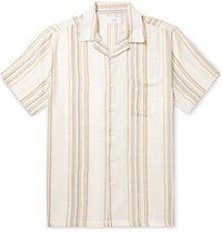 Onia Vacation Camp Collar Striped Lyocell And Cotton Blend Shirt Neutrals