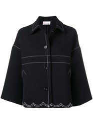 Red Valentino Stitching Detail Oversized Jacket Black