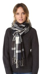 Plush Ultra Soft Plaid Scarf Navy Charcoal White