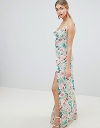 Prettylittlething Floral Maxi Dress With Side Split Green