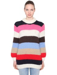 Ganni Julliard Mohair And Wool Knit Sweater Multicolor