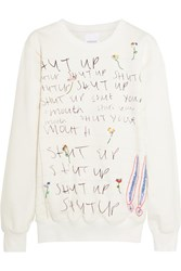 Ashish Embellished Printed Cotton Jersey Sweatshirt White