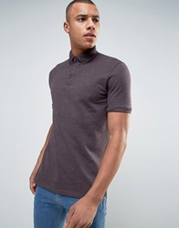 Asos Polo Shirt With Button Down Collar In Purple Marl Moussaka Marl