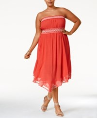 American Rag Plus Size Strapless Embroidered Dress Only At Macy's Coral