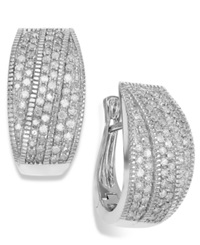 Wrapped In Love Diamond Crossover Hoop Earrings In Sterling Silver 1 Ct. T.W.
