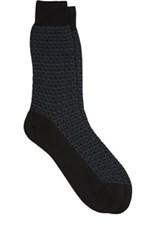 Brioni Men's Geometric Pattern Cotton Blend Mid Calf Socks Black