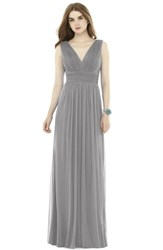 Women's Alfred Sung V Neck Pleat Chiffon Knit A Line Gown
