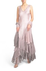 Komarov Beaded Charmeuse And Chiffon Gown With Wrap Lotus Smoke Ombre