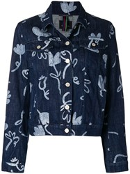 Paul Smith Ps By Artistic Printed Denim Jacket Blue