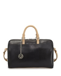 Charles Jourdan Dalton Two Tone Leather Satchel Bag Black Neutral