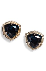 Sorrelli Adorned Triangle Crystal Stud Earrings Blue Green