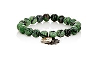 Miracle Icons Men's Ruby Zoisite Bead And Charm Bracelet Red