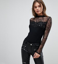 Lipsy Long Sleeved Lace Body With Sequins Black