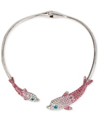 Betsey Johnson Silver Tone Pave Crystal Dolphin Collar Necklace Pink