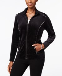 Karen Scott Petite Printed Trim Mock Neck Jacket Only At Macy's Deep Black