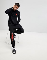 Asos Onesie With Rose Print And Tipping Black