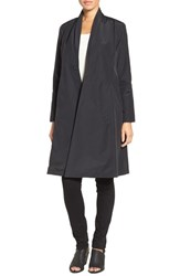 Eileen Fisher Women's Lightweight Shawl Collar Organic Cotton Blend Long Coat Black