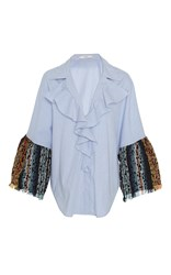 Tome Cotton And Tweed Ruffled Shirt Stripe