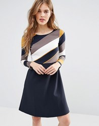 Traffic People Beware Double Take Dress With Stripe Top Navy Yellow