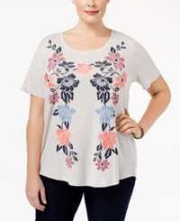 Styleandco. Style Co. Plus Size Embroidered Floral Print T Shirt Only At Macy's Light Silver