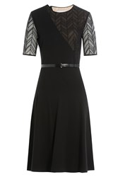 Jason Wu Ponte Herringbone Lace Short Sleeve Day Dress With Belt Black