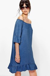 Boohoo Off The Shoulder Ruffle Sleeve Denim Dress Indigo