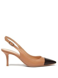 Gianvito Rossi Lucy 70 Leather Slingback Pumps Black Nude