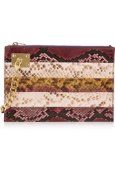 Sophie Hulme Striped Chain Embellished Python Clutch Animal Print