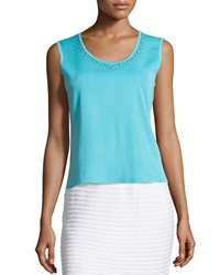 Ming Wang Studded Scoop Neck Tank Ocean