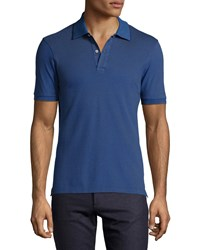 Luciano Barbera Contrast Trim Polo Shirt Navy
