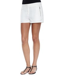 Andrew Marc New York Geometric Eyelet Shorts White