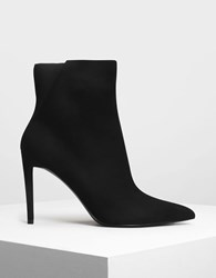 Charles And Keith Pointed Stiletto Calf Boots Black