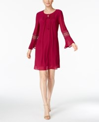 Ny Collection Petite Bell Sleeve Peasant Dress Merlot