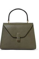 Valextra Iside Mini Textured Leather Tote Army Green
